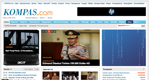 Screenshot Kompas.com